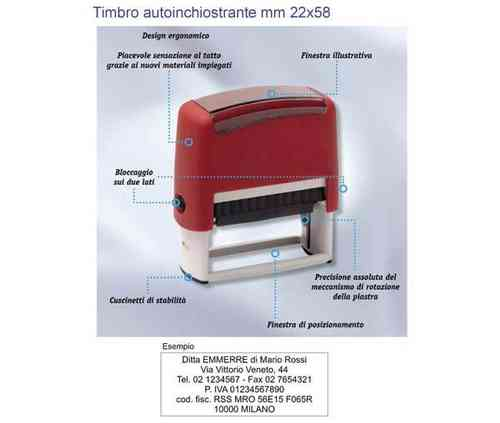 Timbro autoinchiostrante mm 22x58 art. TM9013